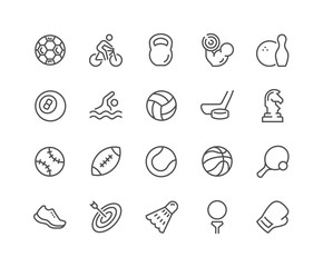 Line Sport Equipment Icons