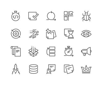 Line Agile Development Icons