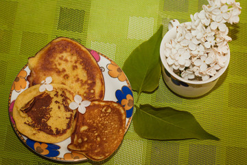 Breakfast with pancakes. Lilac mood.