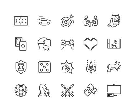 Line Games Icons