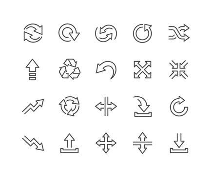 Line Interface Arrows Icons