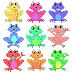 frog a set of different flowers isolated vector EPS 10