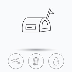 Mailbox, video monitoring and water drop icons.