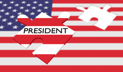 US election: Missing puzzle piece president with US flag, 3d illustration
