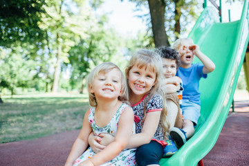 Happy kids playing outdoors