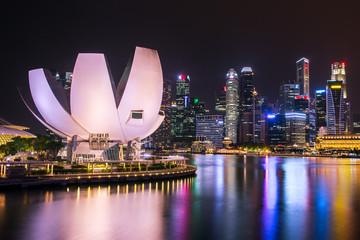 Foto op Plexiglas Singapore Singapore skyline and Marina bay view at night