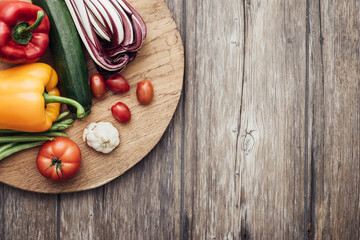 Vegetables in a rustic kitchen