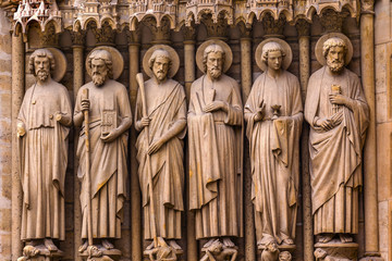 Biblical Saint Statues Door Notre Dame Cathedral Paris France