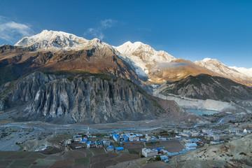 View of Manang valley and Annapurna mountains range. Annapurna circuit trek, Nepal