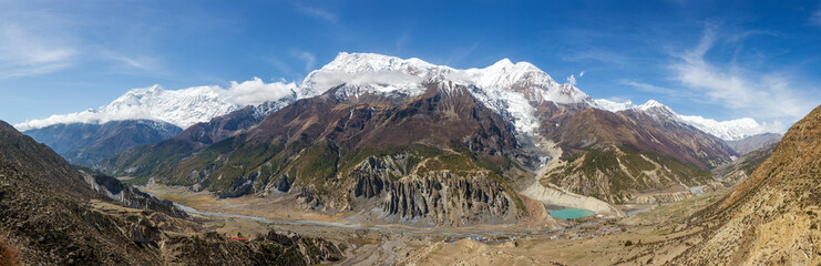 Panoramic view of Manang valley and Annapurna mountains range. Annapurna circuit trek, Nepal