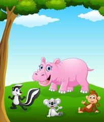 Happy animals cartoon on the field