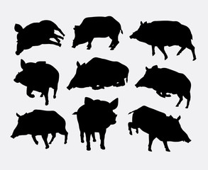 Boar mammal wild animal silhouette. Good use for symbol, logo, web icon, mascot, sticker design, sign, or any design you want. Easy to use.