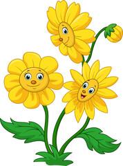 Cartoon happy sunflower