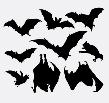 Bat animal silhouette. good use for symbol, logo, web icon, mascot, sticker design, sign, or any design you want.