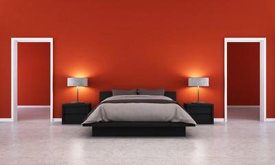 3D render red bedroom