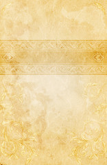 Wall Mural - Vintage paper background with decorative border and patterns.