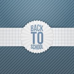 Back to School greeting Emblem on paper Ribbon