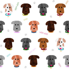 Seamless dog background. Cartoon style. Pattern. Illustration with cute puppies. Happy joyful pets. Pet background. Endless texture. Animal pattern. White backdrop.