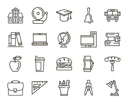 Back to school flat icons