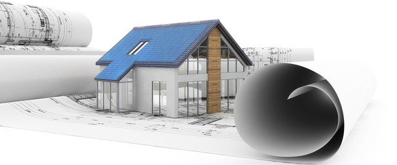 Hausbau in Planung (panoramisch)