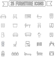 Flat line silhouette  furniture and home appliance interior graphic sign and symbol icon collection set, create by vector