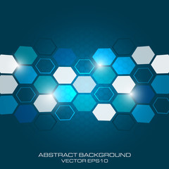 Abstract business background with light effect and hexagon.