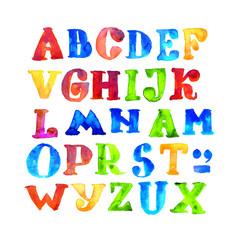handmade kid watercolor alphabet. paint grunge color letters. child bright ABC