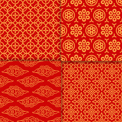 Red geometric oriental pattern set. Vector illustration