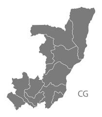 Congo Republic departments Map grey