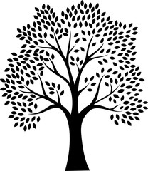 Black tree silhouette isolated on white background