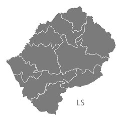 Lesotho districts Map grey