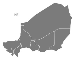 Niger regions Map grey