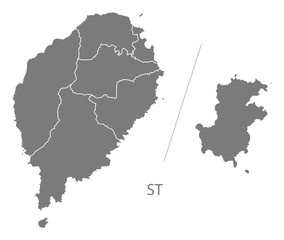 Sao Tome and Principe districts Map grey