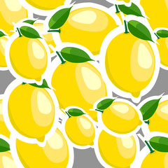 Pattern. lemon and leaves different sizes on gray background.