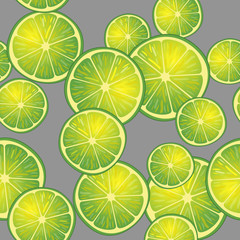 Vector illustration of lime slices on gray background in different angles. Pattern.