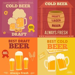 Flat design of beer ads