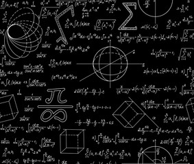 """Mathematical vector seamless pattern with various algebra signs, formulas, calculations, equations, numbers. Math endless texture, """"handwritten with chalk on blackboard"""" effect"""