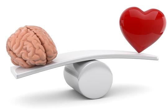 3d Gehirn gegen Herz, auf was soll man hören.
