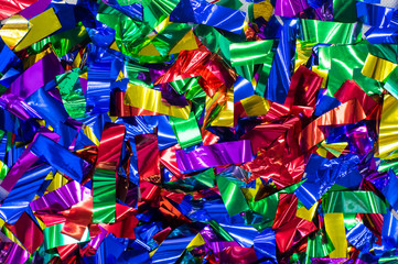 Multicolored festive confetti on the  floor