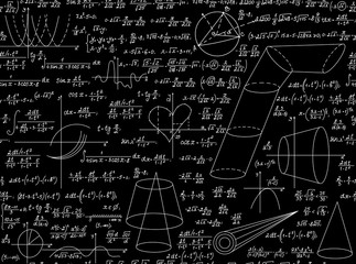 Mathematical vector educational seamless pattern with various mathematical signs, figures and calculations. Scientific endless texture