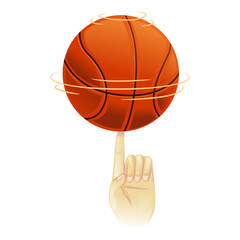Vector Illustration of Basketball spinning on top of index finger