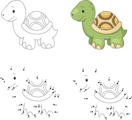 Cartoon turtle. Coloring book and dot to dot game for kids