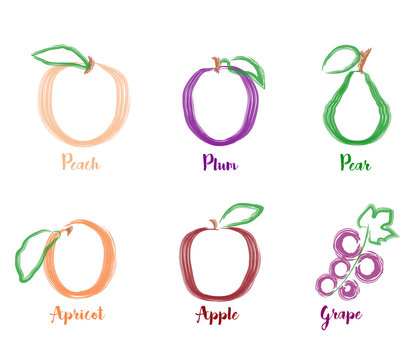 Summer fruits watercolor icons.