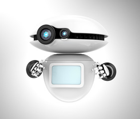 White robot with blank monitor isolated on gray background. 3D rendering image with clipping path.