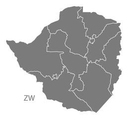 Zimbabwe provinces Map grey