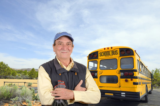 Confident school bus driver