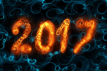 Happy new year 2017 isolated numbers written with flame light on dark seamless background