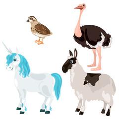Unicorn, ostrich, deer and little bird, vector