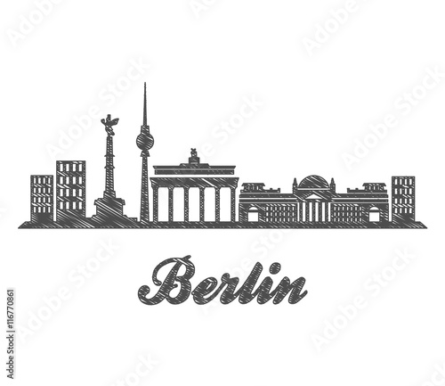 berlin skyline city sketch stockfotos und lizenzfreie vektoren auf bild 116770861. Black Bedroom Furniture Sets. Home Design Ideas