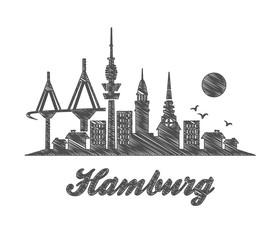 Hamburg skyline city sketch